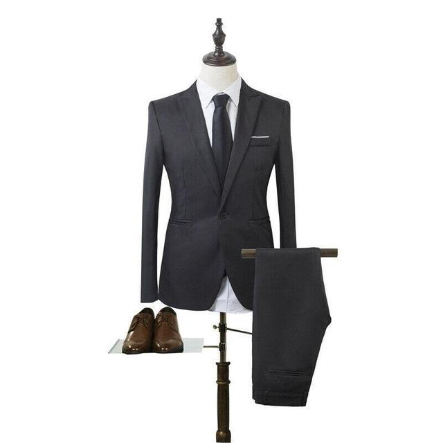Costume Homme Mens Blazer Suit Ensembles Slim Tuxedo Coat Pants Formal Evening Dinner Wedding Groom 2