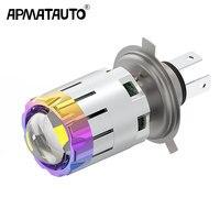 Motocicleta 12v h4 oi lo feixe moto led farol mini bi-led farol lente caber a maioria de moto lâmpadas led bulbo 4800lm 6000 k 3000 k