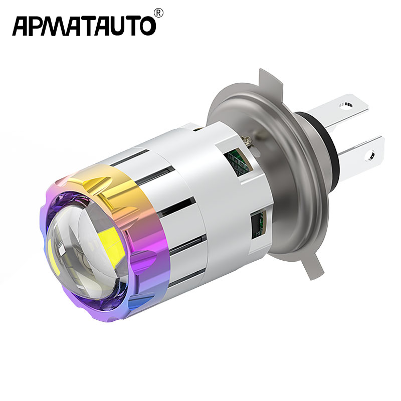 Motorcycle 12v H4 Hi Lo Beam Moto LED Headlight Mini Bi-LED Headlight Lens Fit Most Motorbike LED Lamps Bulb 4800LM 6000K 3000K