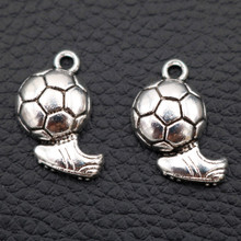 10pcs Antique Silver Mini Football & Ball BootsTrophy Pendant Sports Theme Necklace Earrings DIY Handmade Jewelry Findings A122