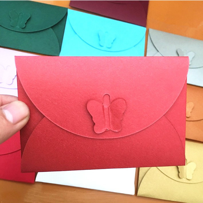 Folding Clasps Mini Envelope Bank Card Membership Card Mini Envelope Kraftpaper Pearl Paper Colored Envelope