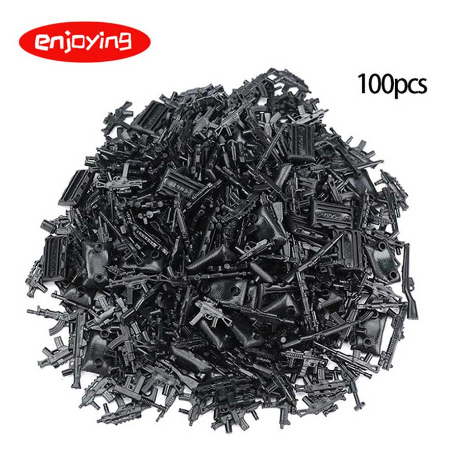 25-100Pcs Weapons Gun Pack Building Blocks Bricks Military Series City SWAT Police Arms Toys For Childrens