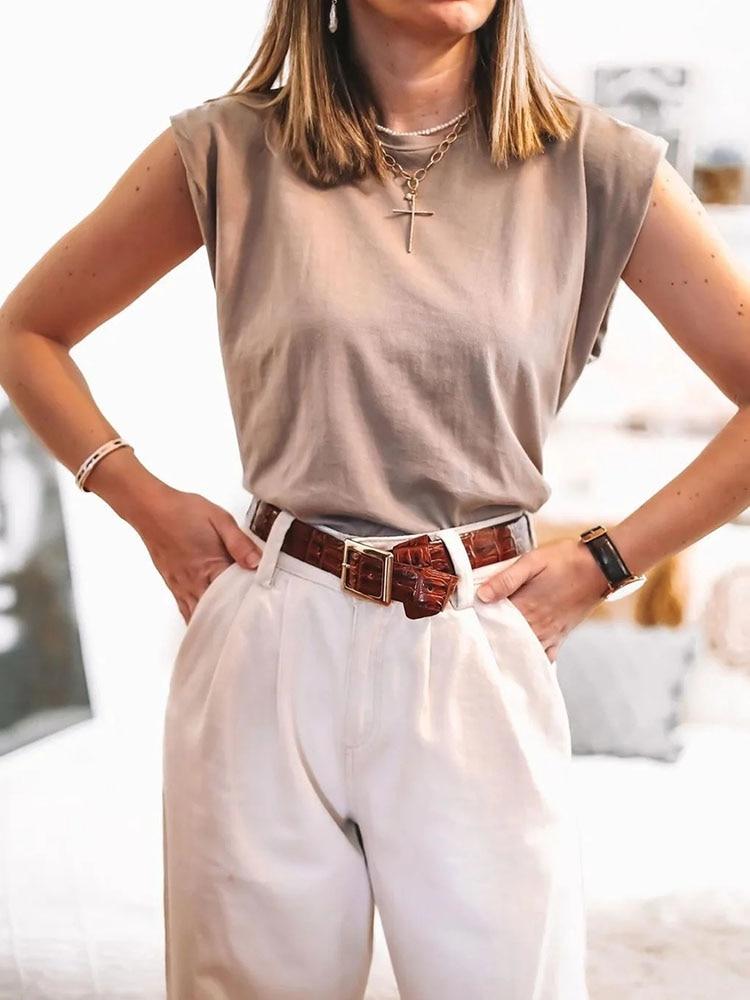 2020 Women za Fashion Solid 95% Cotton Shoulder pad T-shirt Vintage O-Neck Sleeveless Tops Casual Girls Streetwear