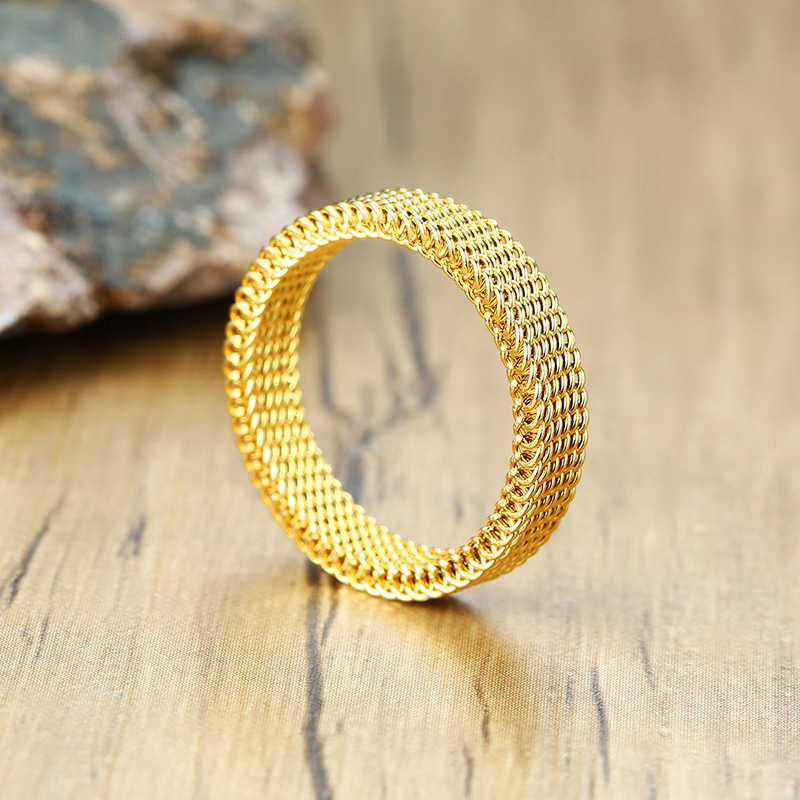 4 มม.ใหม่สตรีตาข่ายแหวนแฟชั่นสแตนเลสสตีลเครื่องประดับ
