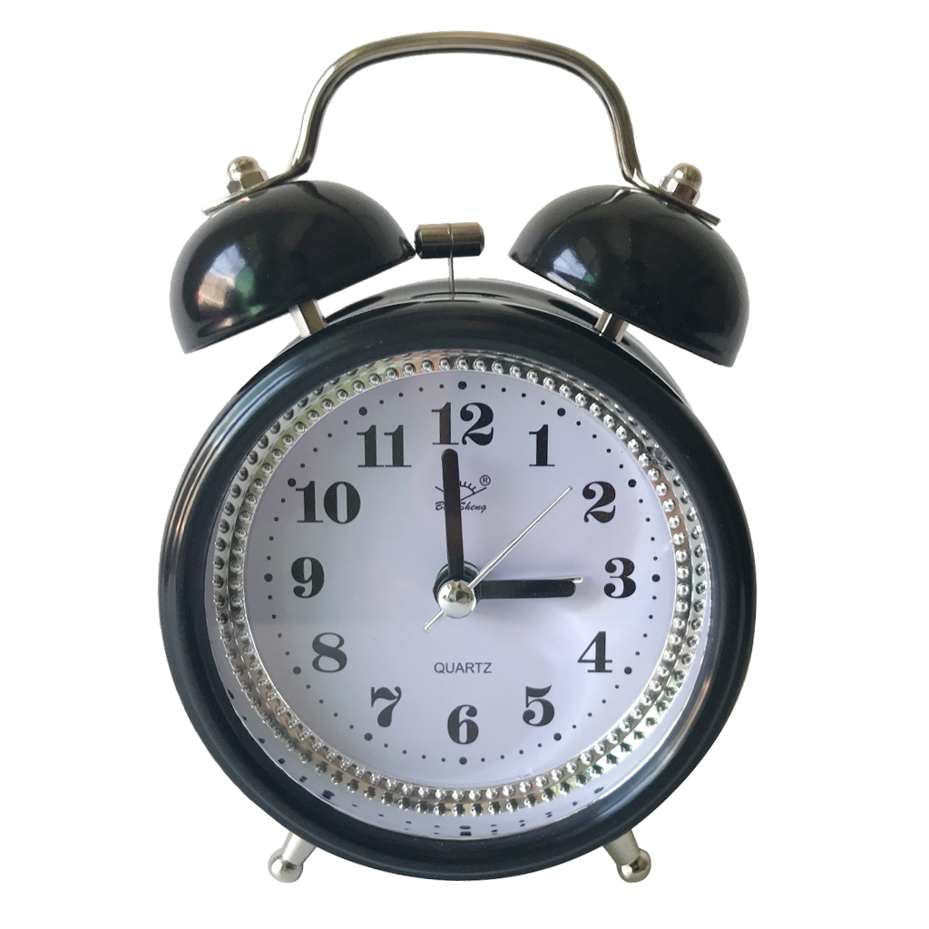 3-inch Quartz Metal Double Bell Alarm Clock Night Light Table Clock for Bedroom Office Travelling