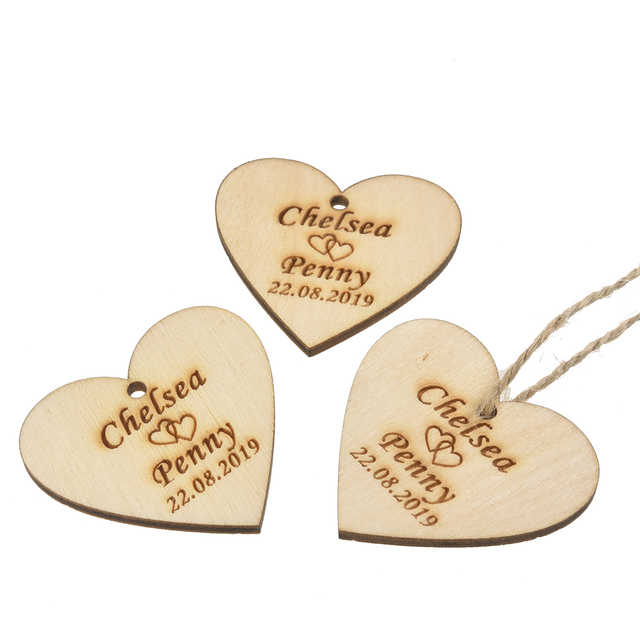 100 Sets Personalized Engraved Wooden Love Heart Tags Wood Tag String Wedding Tag Baby Shower Tags Christening Gift Decor 40MM