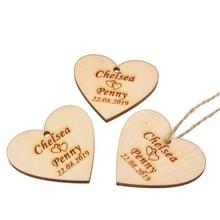 100 sets 개인화 된 새겨진 된 나무 사랑 심장 태그 나무 태그 문자열 결혼식 태그 아기 샤워 태그 christening 선물 장식 40mm