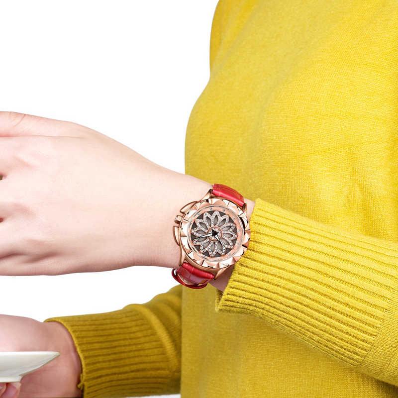Megir Mewah Wanita Jam Tangan Fashion Diputar Panggil Wanita Kuarsa Watch Kulit Merah Wanita Gadis Jam Tangan Jam Relogio Feminino