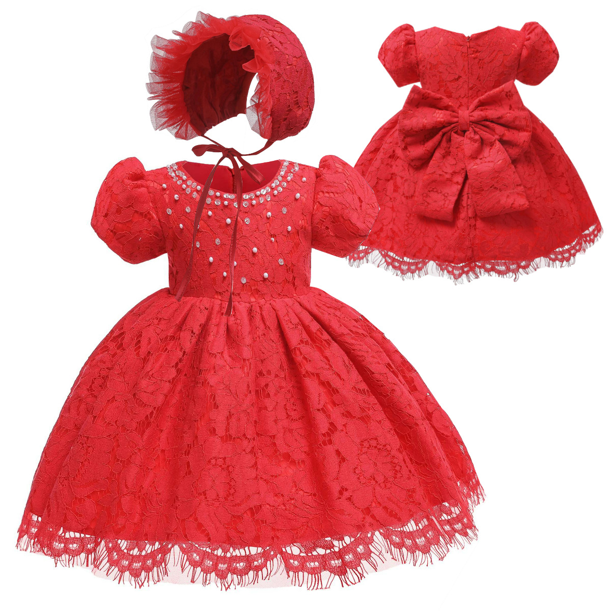Wish Hot Selling Babies' Dress Europe And America Princess Dress Red Lace A Year Of Age Baby Hundred Days Photography Clothing