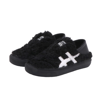 2019 Winter Children Fur Shoes Patchworked Leather Little Girls Fur Sneaker Elastic band Little Boys Black Fur Shoes Outdoor