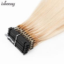 Isheeny Blonde 40-60cm 6D Invisible Micro Link Hair One Generation Hair Extensions 10pcs/set 100% Natural Human Hair 100 strands