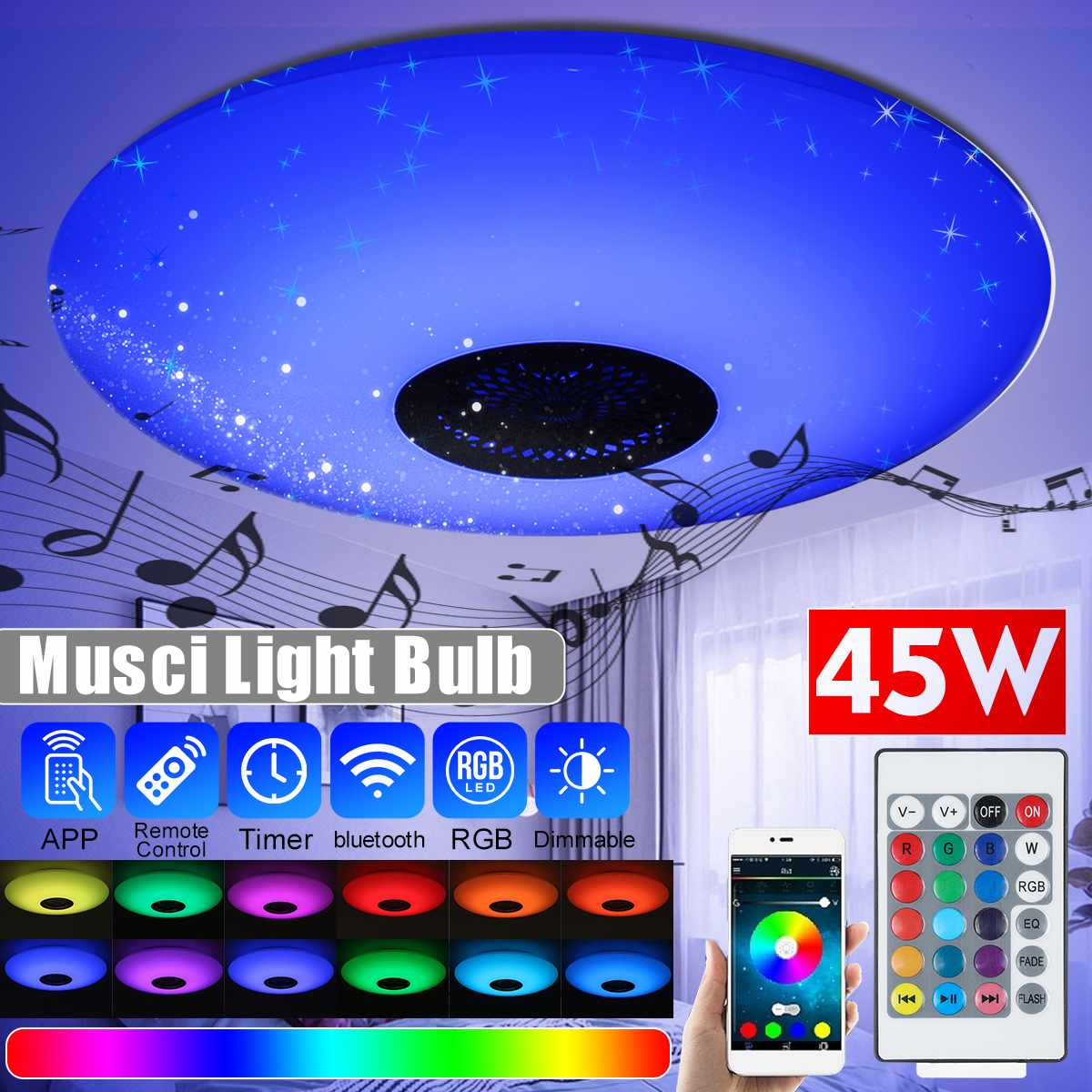 Modern RGB LED Ceiling Lights Home Lighting 45W APP Bluetooth Music Light E27 Bedroom Lamps Smart Ceiling Lamp+Remote Control