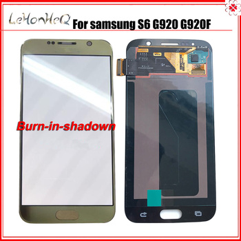 AMOLED Lcd Display with burn shadown For Samsung Galaxy S6 G920 G920f G920fd LCD Display Touch Screen Digitizer Assembly