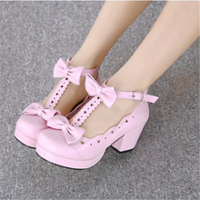 Lolita Shoes Cute Heavy-bottomed Round Head Women Kawaii Bowknot Love Princess Cosplay Jk Uniform Cos Loli