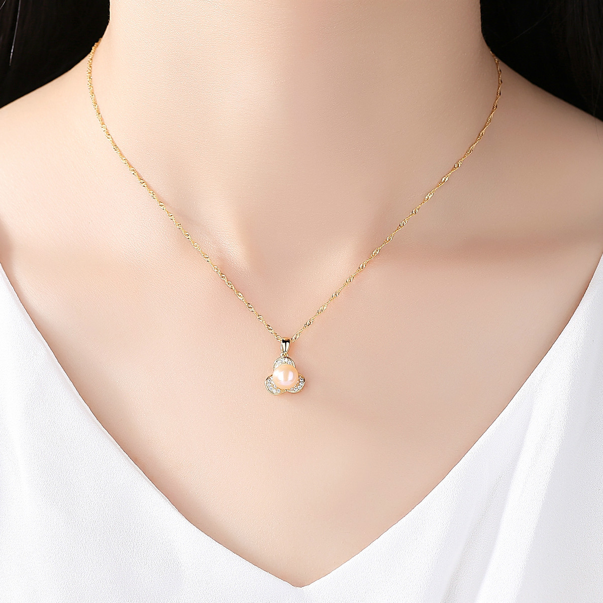 S925 Silver Necklace Electroplated 18K 7 7 5mm Natural Pearl Cross border Jewelry Jewelry Necklace in Pendants from Jewelry Accessories