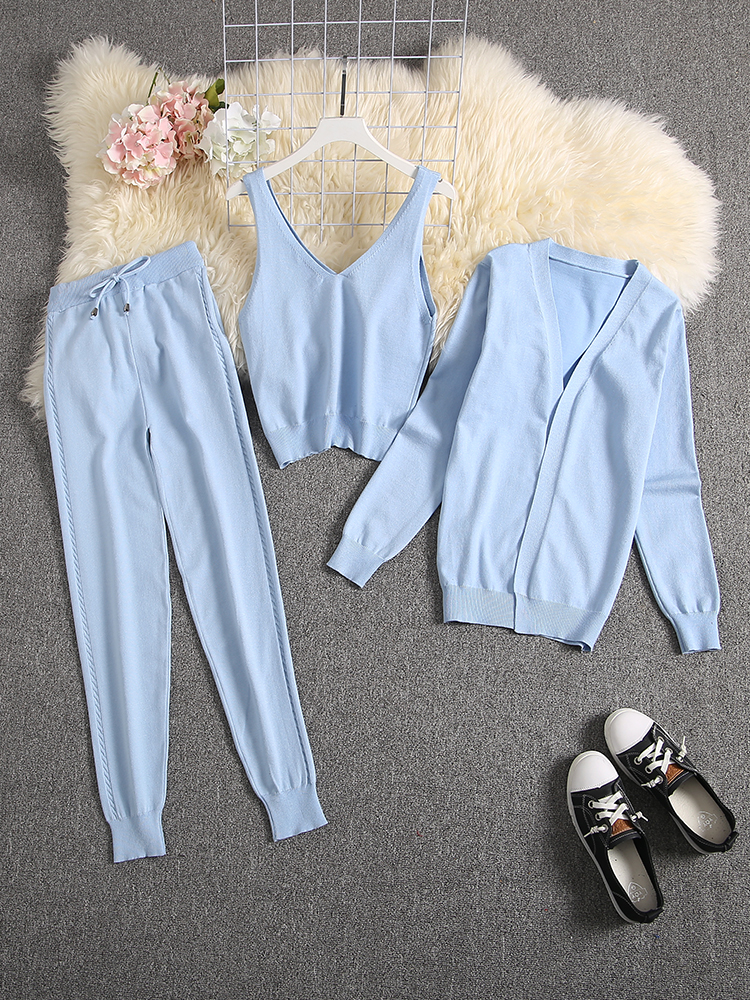 Pants Cardigans Camisole Spring Suit Women ALPHALMODA Knitted Fashion 3pcs Seasonal Candy-Color