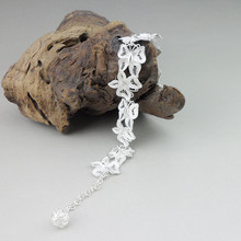 999 Sterling Silver Chain Link Handmade Miao Jewelry Chinese Ethnic Hand Women Charms Bracelet Butterfly Bangles