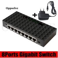 Conmutador de red Gigabit de 8 puertos Lan Hub, conmutador inteligente Ethernet de alto rendimiento, alta velocidad, 100/1000Mbps, RJ45 Hub, divisor de Internet