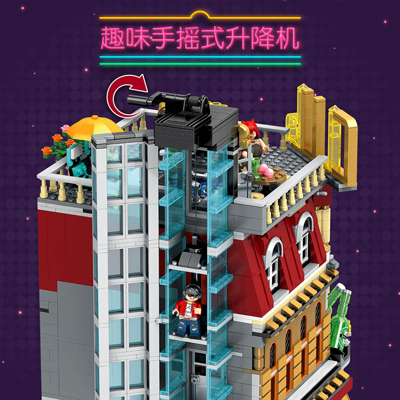 Image 4 - MOC Creator Expert LED 5in1 Luxury Night Club City Street View Building Blocks 2488 Piece Bricks Kids Gifts Toys For Children-in Blocks from Toys & Hobbies