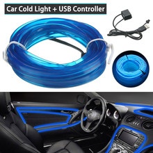 Auto Ornament Blauw Koude Lights 3M Usb Blauwe Led Light Glow El Draad String Strip Rope Tube Auto Interieur decor 5V Auto Producten(China)