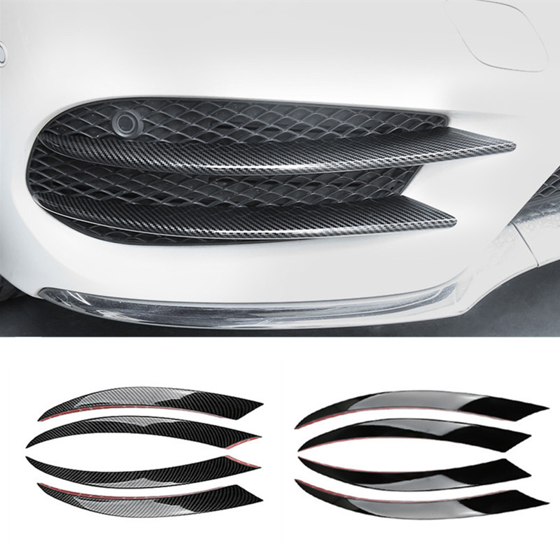 Carbon Fiber Style Front Fog Lamp Grill Grille Decorative Cover Trim Strips For Mercedes Benz C Class W205 2015-2018 Car Styling