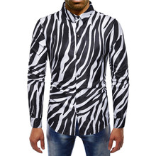 2019 new arrival striped shirt men cotton long sleeve good quality zebra pattern mens dress contrast