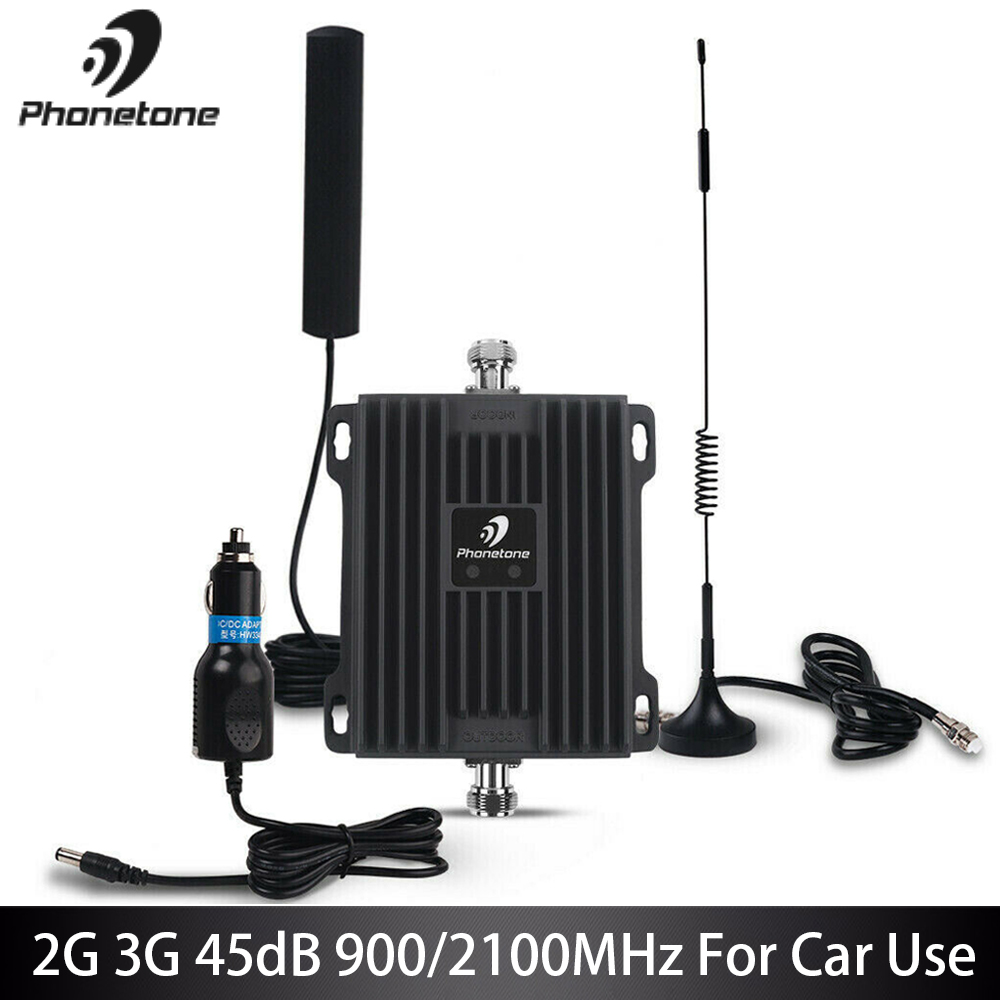 GSM Repeater Car Use 2G EGSM 900MHz WCDMA 3G 2100MHz Cell Phone Signal Booster 45dB Cellular Amplifier Repeater Antennas Fullset