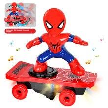 Disney spiderman carro brinquedos modelo dos desenhos animados anime figura boneca de ação música led luz eletrônico basculante brinquedo menino presente para crianças