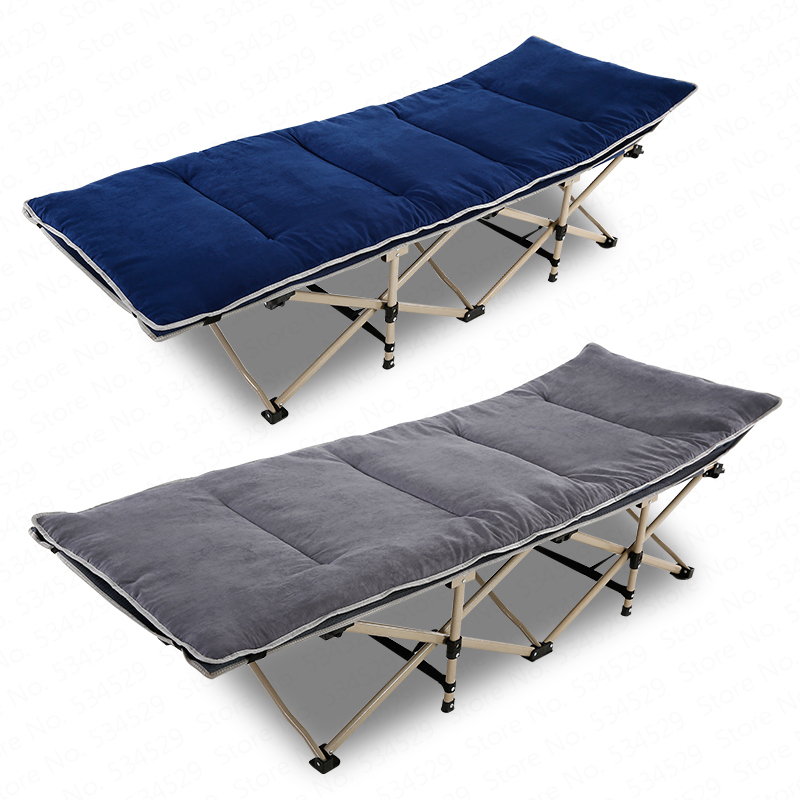 30% Reinforced Portable Folding Bed Single Office Lunch Recliner Nap Bed Simple Accompanying Camp Bed