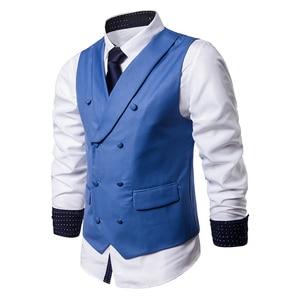 Image 4 - Мужской костюмный жилет, осенняя новая однотонная куртка без рукавов, деловой повседневный мужской жилет, черный, серый, синий Модный жилет в искусственном стиле