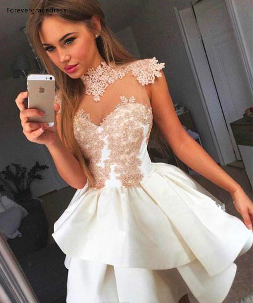 2019 Cheap Short High Neck A Line Lace Applique Homecoming Dress Juniors Sweet 15 Graduation Cocktail Party Dress Plus Size