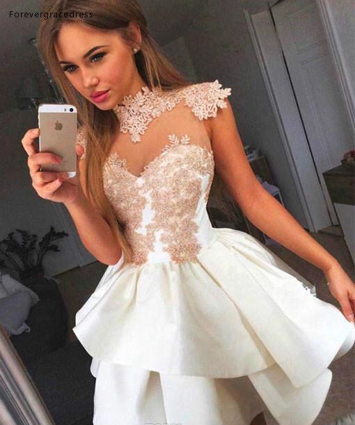 2019 Cheap Short High Neck A Line Lace Applique Homecoming Dress Juniors Sweet 15 Graduation Cocktail Party Dress Plus Size