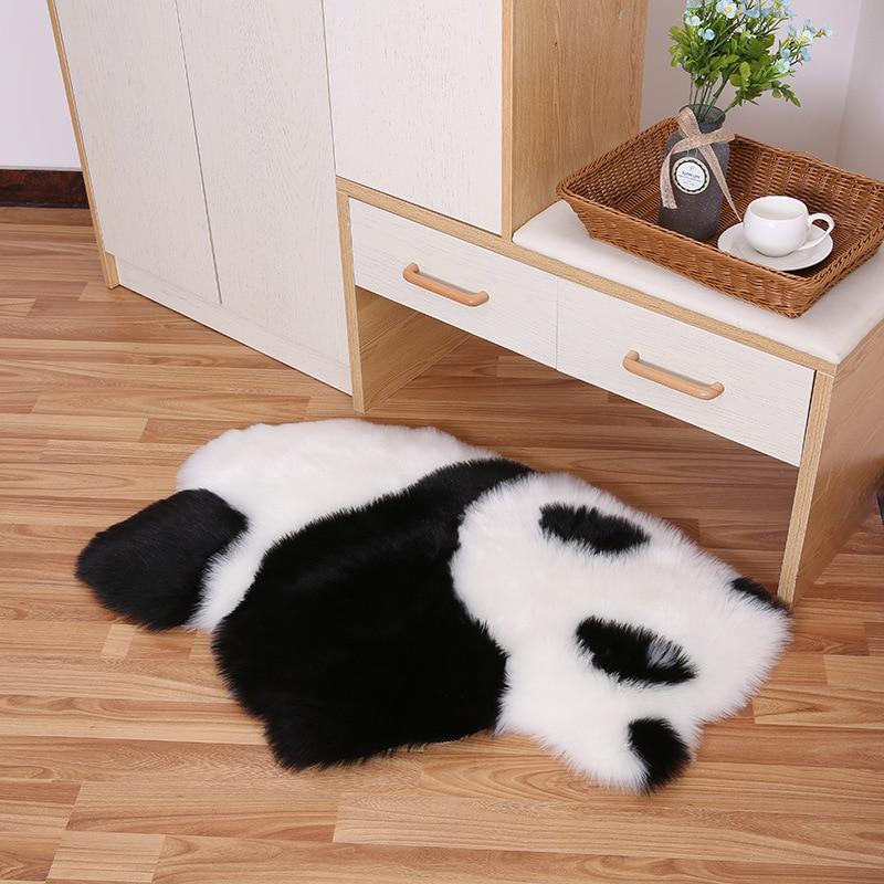 Panda Cartoon Pattern Rugs Long Hair Plush Black White Carpets For Bedroom Living Room Cute Koala Floor Mats Home Decoration