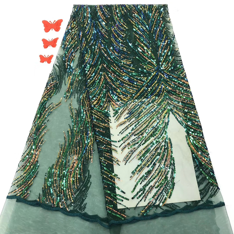 Promotion Green Color Nigerian African Lace Fabric 2020 High Quality 5yards/lot Sequins French Tulle Lace Fabric For Wedding