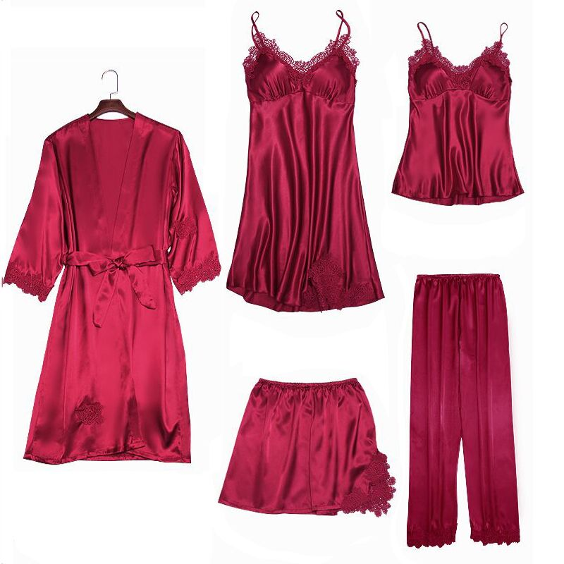 Sexy Women's Robe and Dress Set Lace Bathrobe + Evening Dress 5-Piece Pajamas Women's Sleep Set Rayon Robe Lingerie