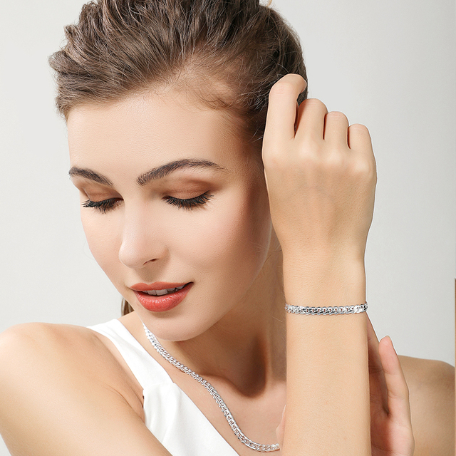 2 Piece 6MM Full Sideways 925 Sterling Silver Necklace Bracelet Fashion Jewelry For Women Men Link Chain Sets Wedding Gift 6
