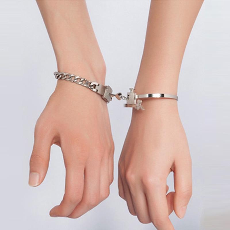 2PC A Couple Lovers Jewelry Love Heart Lock Bracelet Stainless Steel Bracelets Bangles Key Pendant Necklace Jewelry Party Favors