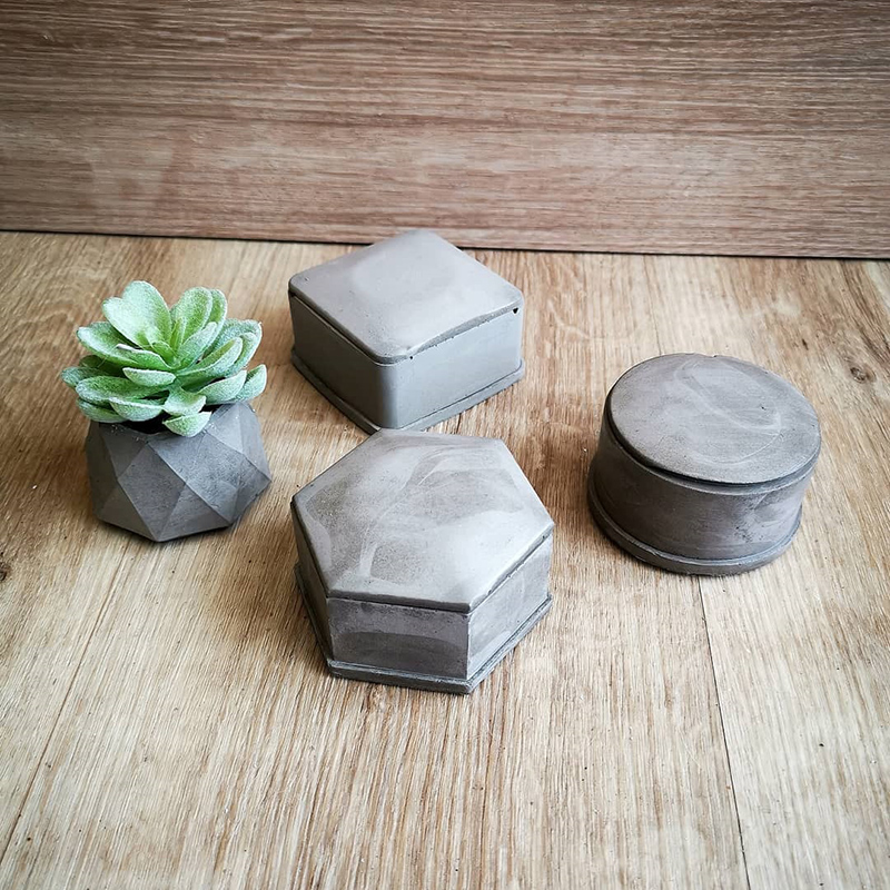 Molds For Concrete Box Storage Box Silicone Molds With Lip Round Epoxy Resin Cement Plaster Mold 2pcs/set