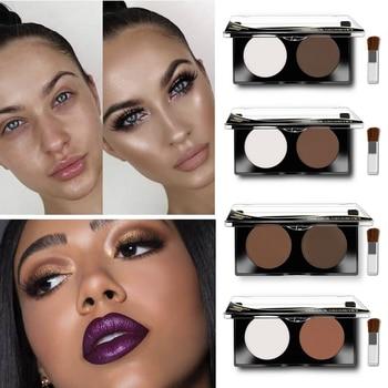 2 Color Face Highlighter Bronzer Powder Palette Face Contour Corrector Concealer Power Makeup Whitening Brighten Cosmetic недорого