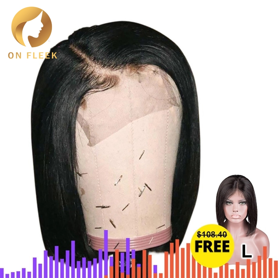 Short Lace Front Human Hair Wigs Bob Wig 4x4 Lace Closure Wigs Natural Color Brazilian Remy Hair 130 Density Low Ratio Dollface