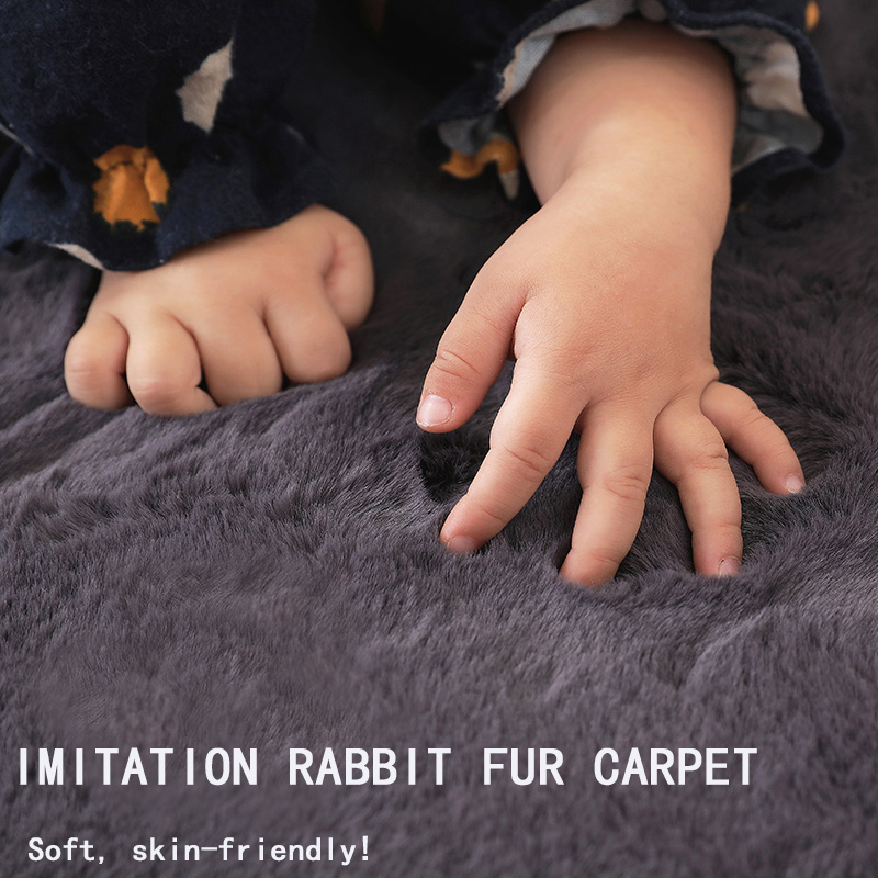 Nordic Fluffy Faux Fur Rug Microfiber Imitation Rabbit Hair Center Living Room/bedroom Carpet 7 Colors Such As White Red