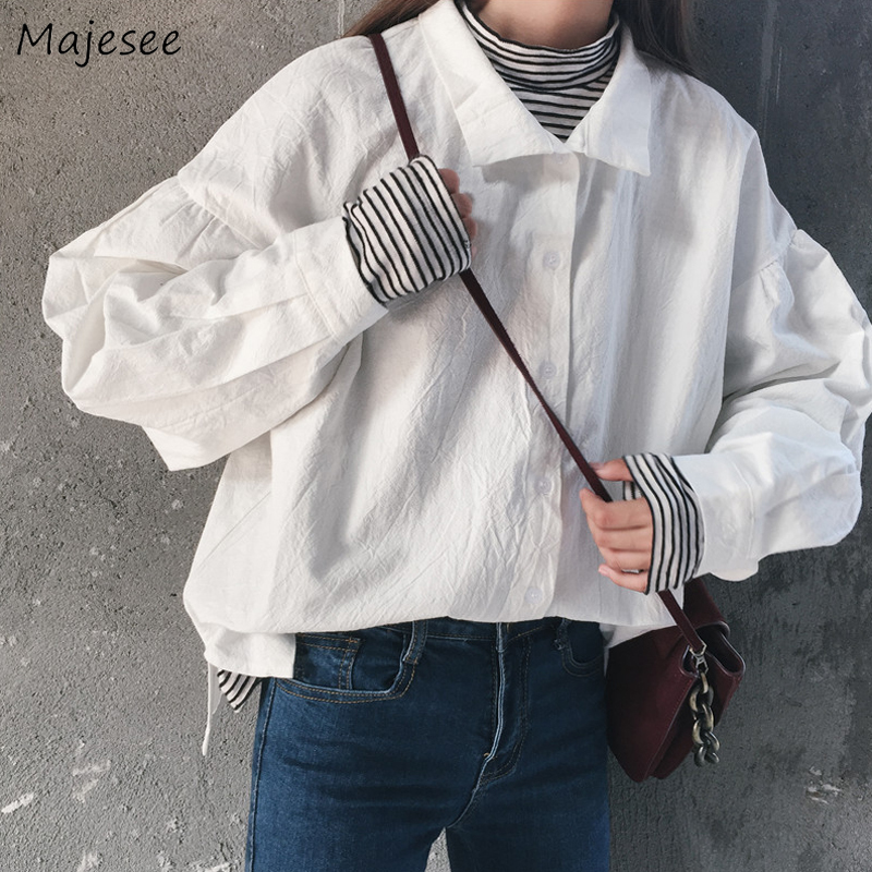 Blouse Women Shirts White Solid Casual Loose All Match Harajuku Long Sleeve Top Womens Tops and Blouses Korean Fashion Clothing
