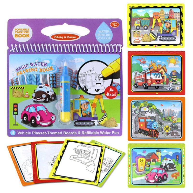 Magic Water Drawing Book+1 Pen Kids Recognize Learning Draw Doodle&Magic Pen Coloring Painting Drawing Board For Kids Toys Gift