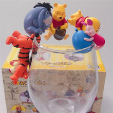 Sugar Jar Bear Pink Red Pig Tigger 5 Winnie the Pooh Rim of a Cup Tea Friends Cup Hanging Doll Blind Box Crane Machine(China)