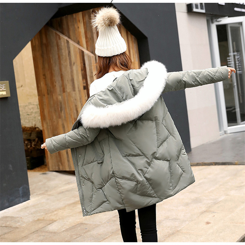 Women Cotton Jacket Medium Long   Parkas   2019 New Winter Thickening Fur Collar Cotton Overcoat Fashion Female Cotton Coats JIU029
