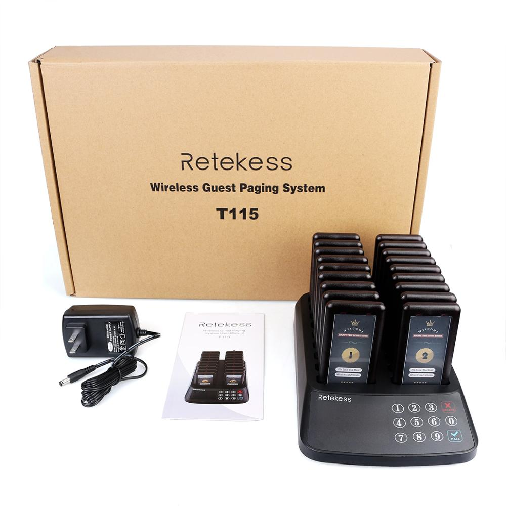 RETEKESS T115 Restaurant Pager Wireless Calling Paging System Beeper Customer Service 18 Coaster Pagers +1 Keypad Transmitter