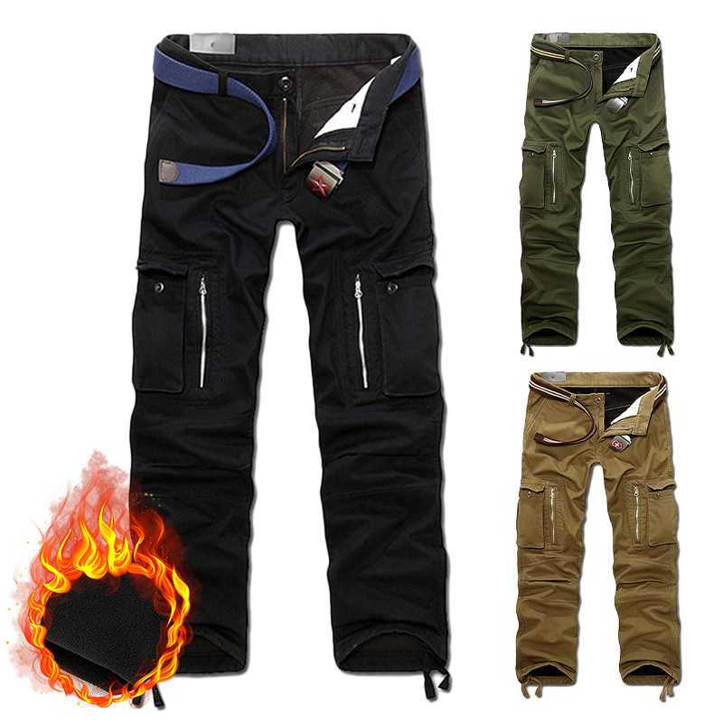 Winter Warm Plus Velvet Pant Casual Fleece Lined Thick Hiking Men Trousers Outdoor Pocket Cargo Pants