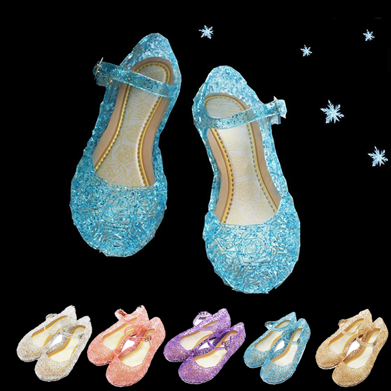 Girls Elsa Blue Sandals Kids Princess Dress Up Accessories Sofia Purple Sleeping Beauty Aurora Pink Transparent PVC Hollow Shoes