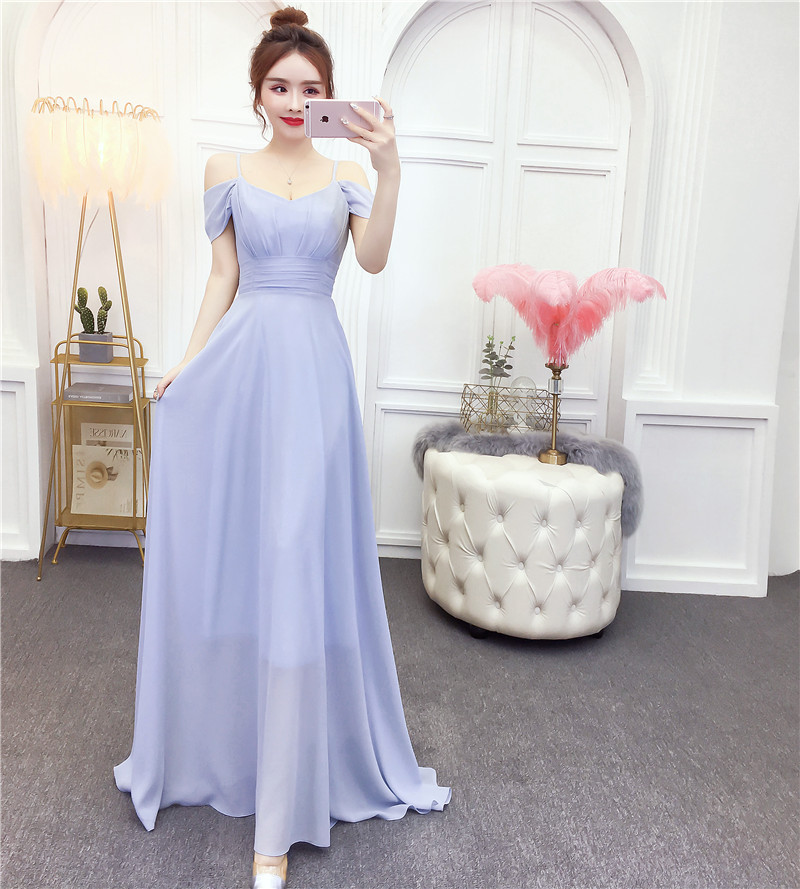 PRE-SALE 2019 Summer New Style-Pleated Waist Hugging Big Hemline Strapped Dress WOMEN'S Dress Bridesmaid Formal Dress Long Skirt