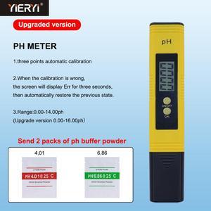 Yieryi 10 pçs ph-02 mais novo protable lcd digital medidor de ph caneta tester aquário piscina água vinho urina chegar com caso plástico